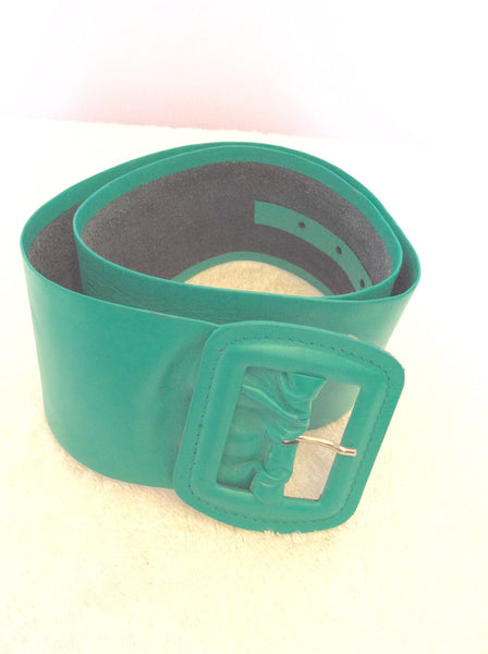 "Vintage Jaeger Green Leather 3 Inch Belt Size 28"" - Whispers Dress Agency - Sold - 1"