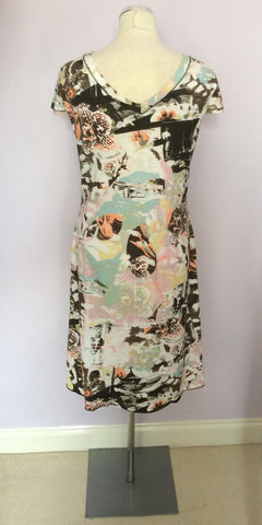 BETTY BARCLAY MULTICOLOURED PRINT V NECK DRESS SIZE 12 - Whispers Dress Agency - Womens Dresses - 3