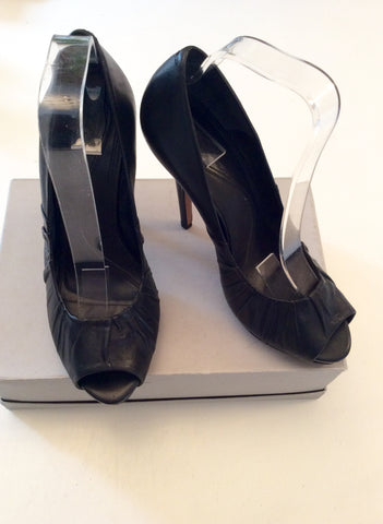 ALL SAINTS BLACK LEATHER PEEPTOE HEELS SIZE 6/39 - Whispers Dress Agency - Womens Heels - 3