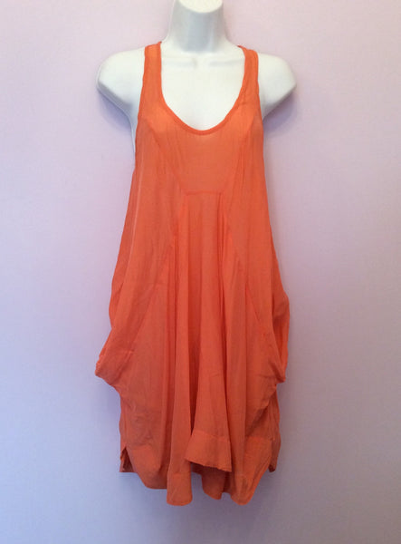 All Saints Orange Silk Racer Back Mea Dress Size 8 - Whispers Dress Agency - Sold - 1