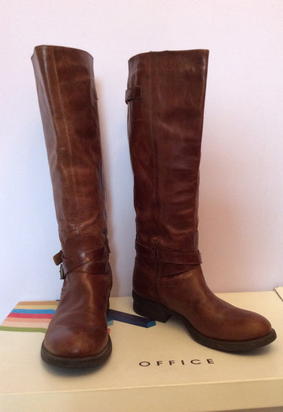 Office Brown Leather Banner Biker Boot Size 6/39 - Whispers Dress Agency - Womens Boots - 1