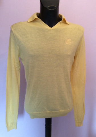 Crombie Yellow Wool Collared Long Sleeve Jumper Size L - Whispers Dress Agency - Mens Knitwear - 1