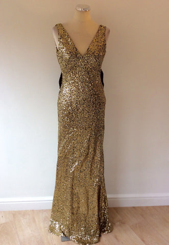 NAZZ COLLECTION GOLD SEQUINED WITH BLACK BOW LONG EVENING DRESS SIZE 12 - Whispers Dress Agency - Sold - 3