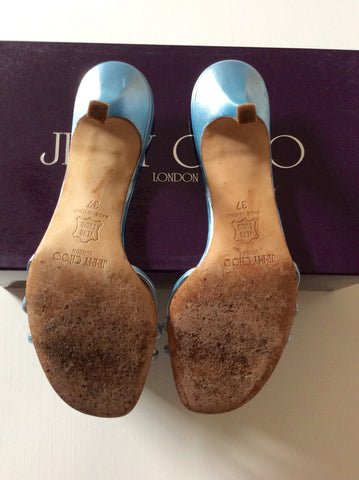 Jimmy Choo Light Blue Strappy Heeled Mule Sandals Size 4/37 - Whispers Dress Agency - Womens Heels - 4