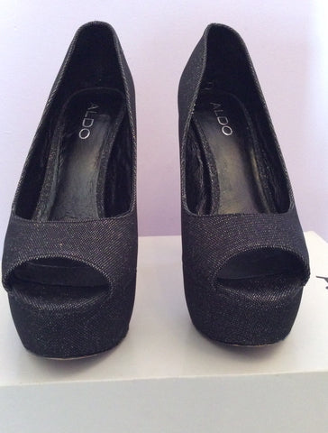 Aldo Vannice Black Sparkle Peeptoe Platform Sole Heels Size 5/38 - Whispers Dress Agency - Womens Heels - 2
