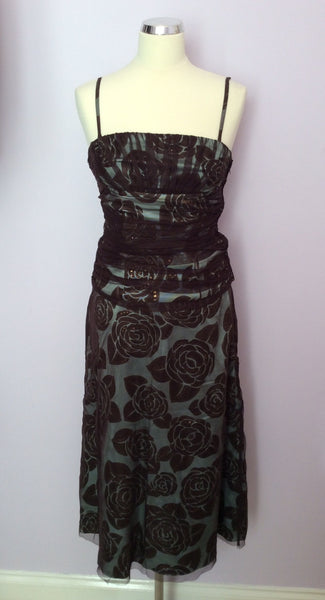 Coast Brown Net & Pale Green Sequinned Silk Bustier & Skirt Suit Size 10/12 - Whispers Dress Agency - Womens Special Occasion - 1