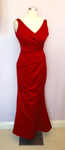 Kelsey Rose Red Satin Long Evening / Ball Dress Size 10 - Whispers Dress Agency - Sold - 1
