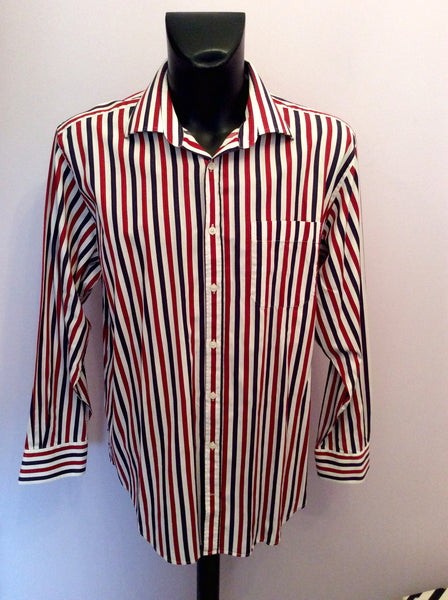"Hawes & Curtis Red, White & Blue Stripe Cotton Shirt Size 17.5"" - Whispers Dress Agency - Sold - 1"