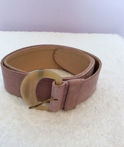 "Vintage Jaeger Pale Pink Suede 2 Inch Belt Size 30"" - Whispers Dress Agency - Sold - 1"