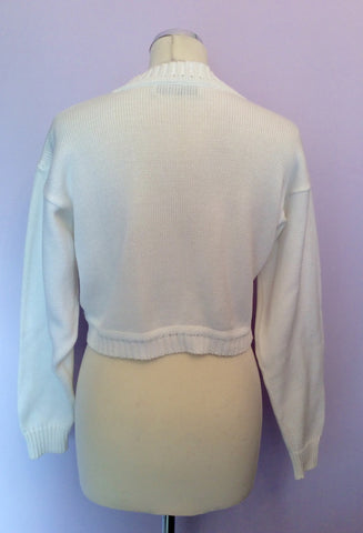 "Vintage Jaeger White Cropped Cotton Cardigan Size 36"" Approx M - Whispers Dress Agency - Womens Vintage - 2"