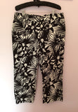 Jaeger Black & White Floral Print Crop Trousers Size 16 - Whispers Dress Agency - Sold - 1