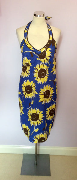 Boden Blue & Yellow Sunflower Print Halterneck Dress Size 12 - Whispers Dress Agency - Sold - 1