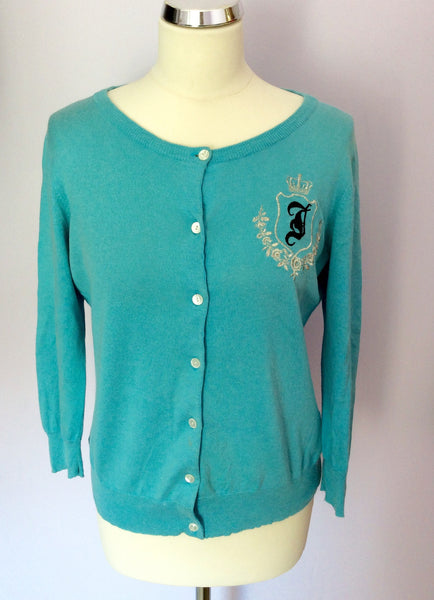 Juicy Couture Turquoise Blue Silk & Cotton Embroidered Cardigan Size L - Whispers Dress Agency - Womens Knitwear - 1