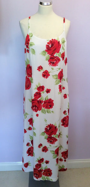 Vintage Laura Ashley Red & White Floral Print Dress Size 18 - Whispers Dress Agency - Sold - 1