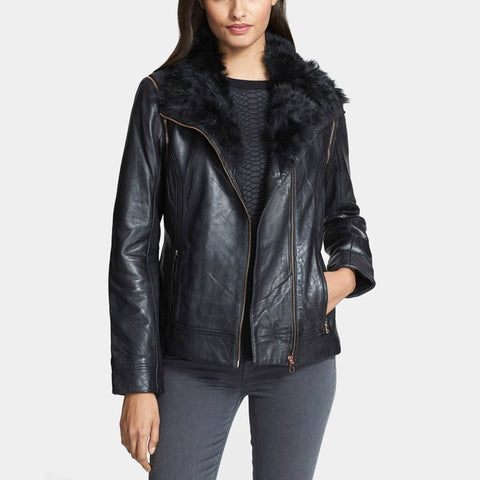 Brand New Ted Baker Black Leather Fur Collar Biker Jacket / Gilet Size 4 UK 12 - Whispers Dress Agency - Womens Coats & Jackets - 1