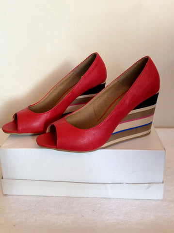 Brand New Red Level Red Peeptoe Striped Wedge Heels Size 7/40 - Whispers Dress Agency - Womens Wedges - 3