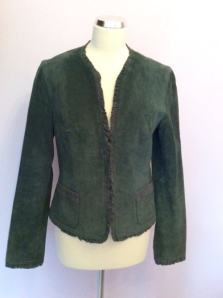 Monsoon Dark Green Suede Jacket Size 12 - Whispers Dress Agency - Sold - 1