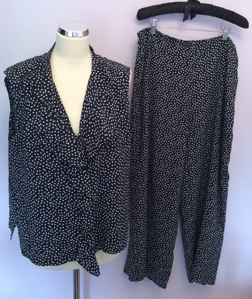 Jaeger Navy Blue & White Spot Top & Trousers Suit Size 16 - Whispers Dress Agency - Womens Suits & Tailoring - 1
