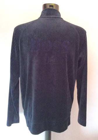 Hugo Boss Dark Blue Velour Zip Neck Top Size XL - Whispers Dress Agency - Mens Casual Shirts & Tops - 2
