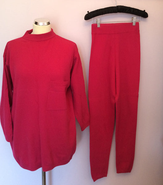 Vintage United Colours Of Benetton Hot Pink Jumper & Trousers Suit Size M - Whispers Dress Agency - Sold - 1