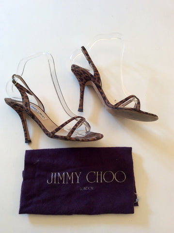JIMMY CHOO BROWN LEOPARD PRINT STRAPPY SANDALS SIZE 5/38 - Whispers Dress Agency - Sold - 3