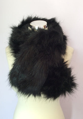 Black Faux Fur Scarf - Whispers Dress Agency - Womens Scarves & Wraps - 1