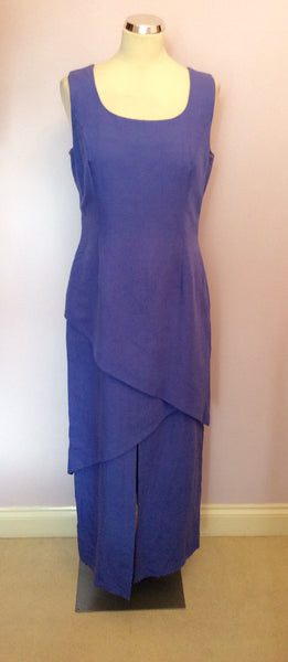 BLACKY DRESS LAVENDER LINEN BLEND LONG ASYMETRIC TIERED DRESS SIZE 14 - Whispers Dress Agency - Womens Dresses - 1