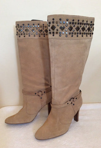Brand New Morgan Beige Suede Studded Trim Heels Size 7.5/41 - Whispers Dress Agency - Womens Boots - 2
