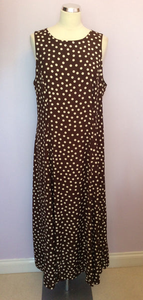 Principles Brown & Ivory Spot Long Dress Size 18 - Whispers Dress Agency - Womens Dresses - 1