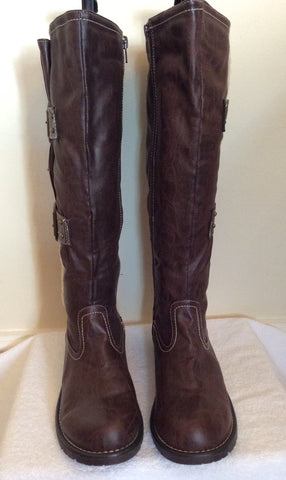 Brand New Cats Eyes Dark Brown Buckle Trim Boots Size 6/39 - Whispers Dress Agency - Womens Boots - 3