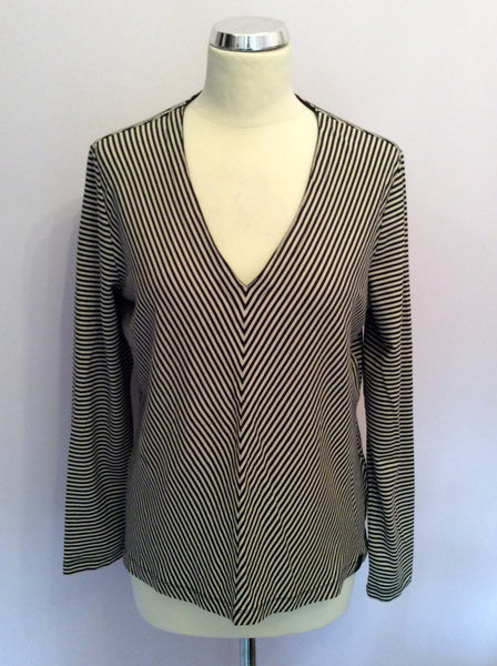 BETTY BARCLAY BLACK & BEIGE STRIPE V NECK TOP SIZE XL - Whispers Dress Agency - Womens Tops - 1