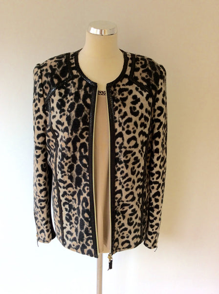 BASLER ANNIVERSARY EDITION CAMEL & BLACK LEOPARD PRINT WOOL JACKET & TOP SIZE 16/18 - Whispers Dress Agency - Sold - 1