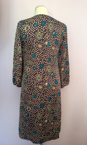Brand New Boden Dark Grey Spot & Floral Print Florentine Tea Dress Size 6 - Whispers Dress Agency - Womens Dresses - 2
