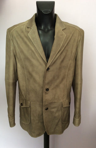 BRAND NEW OLIVER SWEENEY FOUNTAIN GREY (DARK BEIGE) SOFT LEATHER JACKET SIZE XL - Whispers Dress Agency - Mens Coats & Jackets - 1