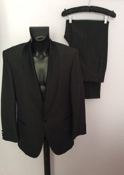 Scott & Taylor Black Wool Blend Tuxedo Suit Size 38R/36W - Whispers Dress Agency - Sold - 1