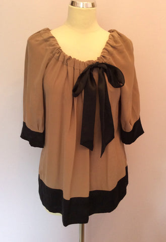 Brand New Monsoon Mink & Black Trim Silk Top Size 14 - Whispers Dress Agency - Sold - 1