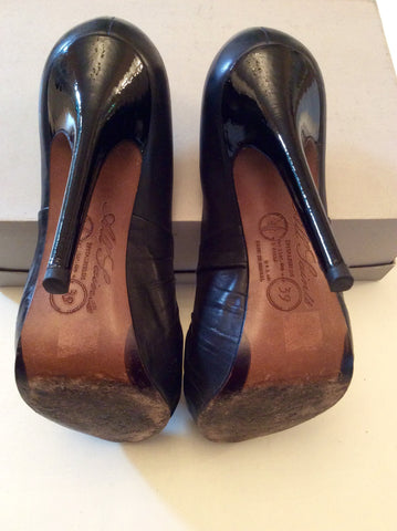 ALL SAINTS BLACK LEATHER PEEPTOE HEELS SIZE 6/39 - Whispers Dress Agency - Womens Heels - 5
