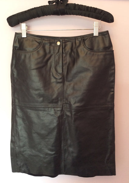 UNITED COLOURS OF BENETTON BLACK LEATHER PENCIL SKIRT SIZE 40 UK 8/10 - Whispers Dress Agency - Womens Skirts - 1