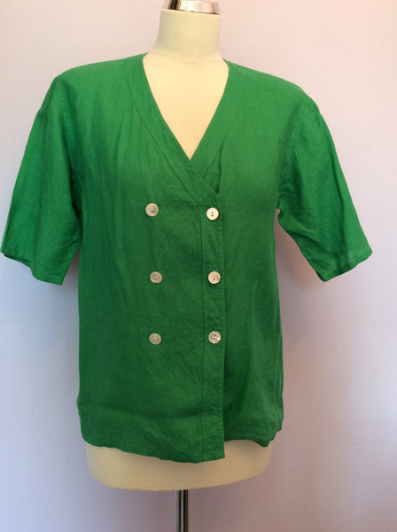 "Vintage Jaeger Green Linen V Neck Top Size 34"" Approx 10/12 - Whispers Dress Agency - Womens Vintage - 1"