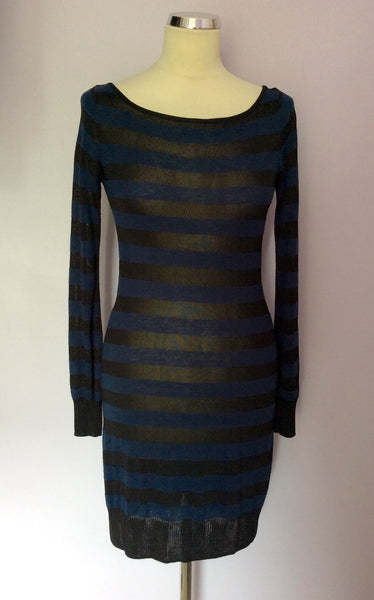 French Connection Black & Blue Stripe Long Sleeve Jumper Dress Size 10 - Whispers Dress Agency - Sold - 1