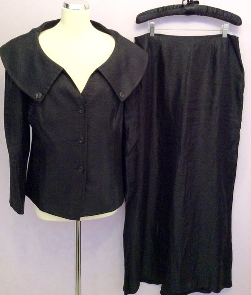 Frank Usher Black Wide Neckline Jacket & Long Skirt Suit Size 16/18 - Whispers Dress Agency - Womens Suits & Tailoring - 1