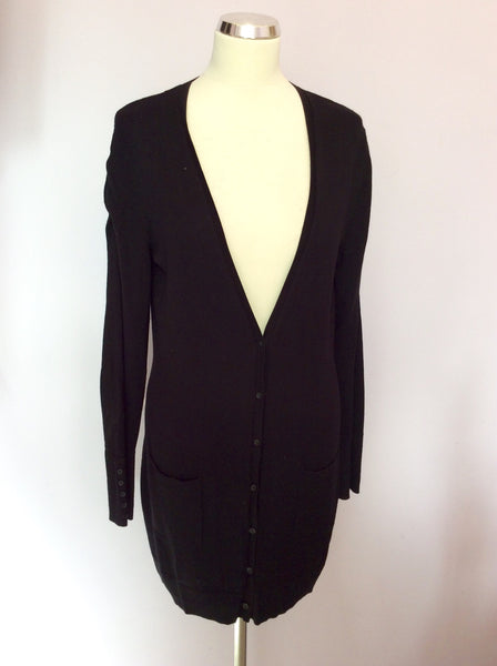 Betty Barclay Black Ruched Sleeve Long Cardigan Size 12 - Whispers Dress Agency - Sold - 1