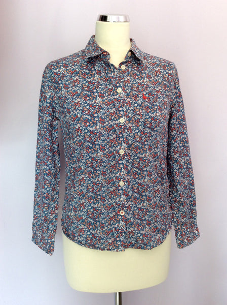 Jack Wills Blue Floral Print Cotton Shrunken Boy Fit Shirt Size 10 - Whispers Dress Agency - Sold - 1