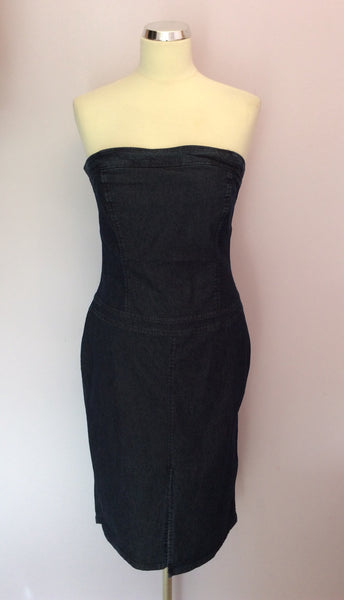 United Colours Of Benetton Blue Denim Strapless Dress Size M - Whispers Dress Agency - Womens Dresses - 1