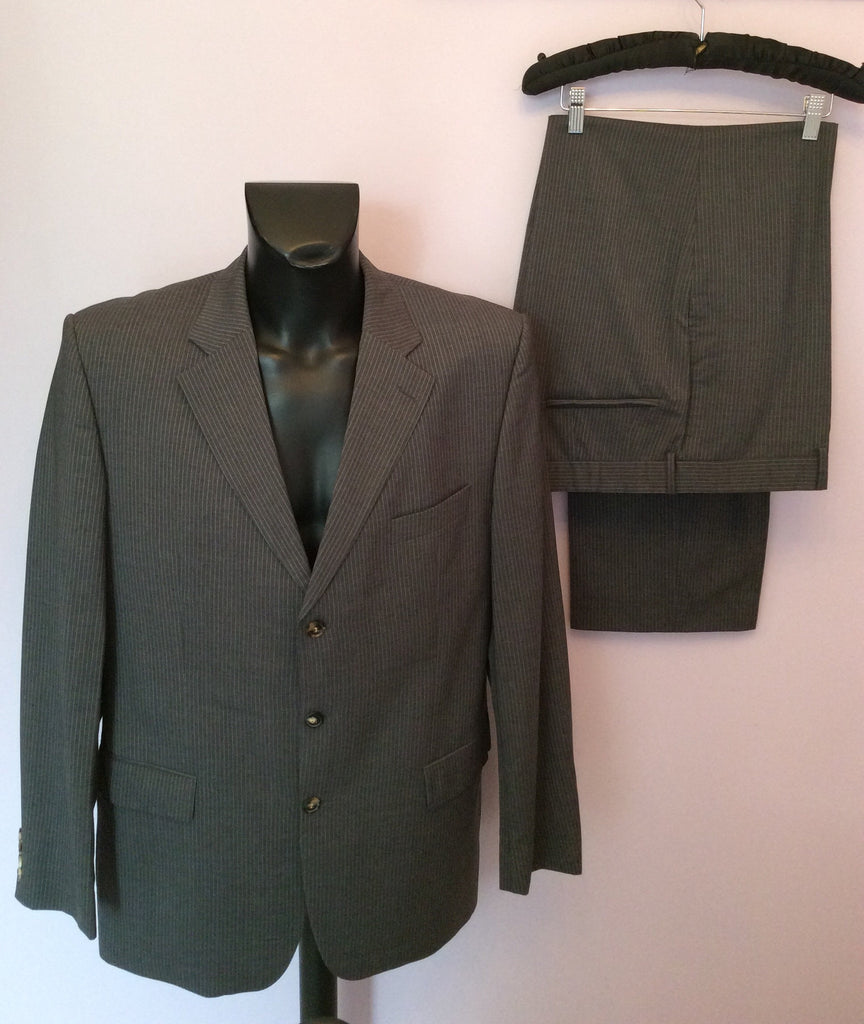 hugo boss grey aqua blue pinstripe suit size 46 38w 32l whispers dress agency. Black Bedroom Furniture Sets. Home Design Ideas