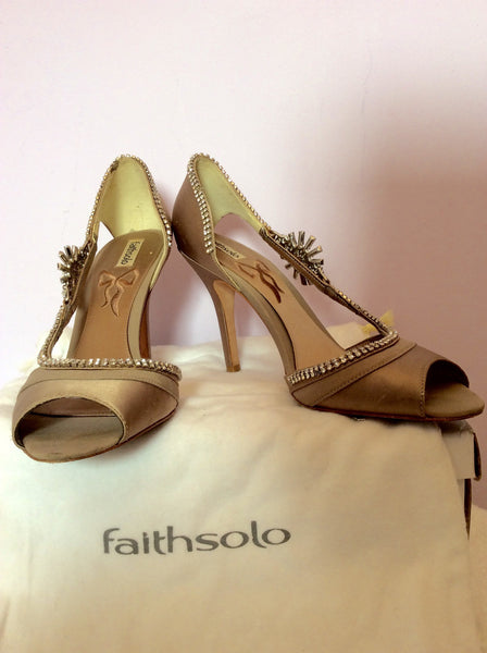 Faith Solo Taupe Satin And Diamanté Peeptoe Heels Size 7/40 - Whispers Dress Agency - Womens Heels - 1
