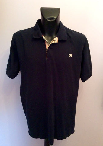 Dark Blue Short Sleeve Cotton Polo Shirt Size Approx XL - Whispers Dress Agency - Mens Casual Shirts & Tops - 1