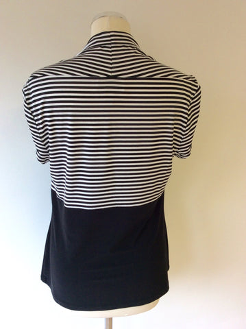JOSEPH RIBKOFF BLACK & WHITE STRIPED CAP SLEEVE TOP SIZE 18 - Whispers Dress Agency - Sold - 2