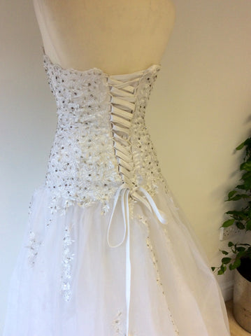 Beautiful White Strapless Jewelled & Embroidered Corset With Full Skirt Wedding Dress Fit Size UK 6-10 - Whispers Dress Agency - Womens Dresses - 9