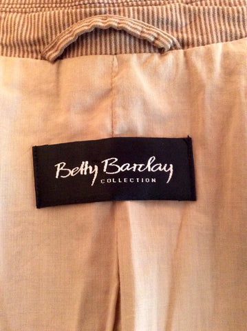 Betty Barclay Brown Pinstripe Jacket Size 10 - Whispers Dress Agency - Womens Coats & Jackets - 3